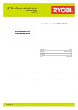 """RYOBI RAC248 14""""/35cm lišta do elektrické síťové řetězové pily 5132002783 A4 PDF"""