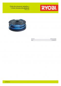 RYOBI RAC110 Cívka do strunové sekačky s 1.5mm strunou (dvojbalení) 5132002775 A4 PDF