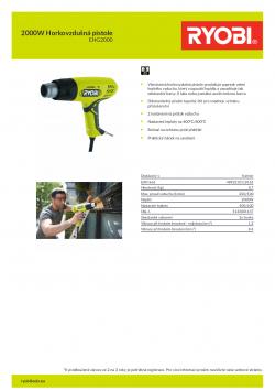 RYOBI EHG2000 2000W Horkovzdušná pistole 5133001137 A4 PDF