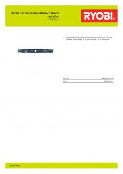 RYOBI RAC412 46cm nůž do akumulátorové travní sekačky 5132002695 A4 PDF