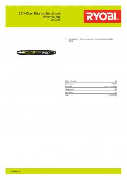 """RYOBI RAC246 16""""/40cm lišta pro benzínové řetězové pily 5132002790 A4 PDF"""