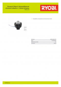 RYOBI RAC114 Strunová hlava k akumulátorové strunové sekačce s 1.6mm strunou 5132002669 A4 PDF