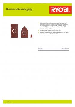 RYOBI SMS30 30ks sada multibrusného papíru 5132002444 A4 PDF