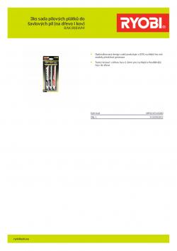 RYOBI RAK3RBWM 3ks sada pilových plátků do šavlových pil (na dřevo i kov) 5132002813 A4 PDF