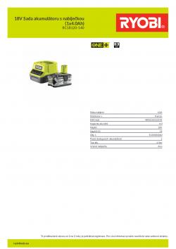 RYOBI RC18120-140 18V Sada akumulátoru s nabíječkou (1x4.0Ah) 5133003360 A4 PDF
