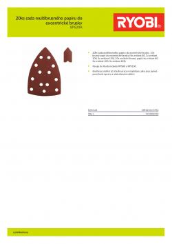 RYOBI SPS20 20ks sada multibrusného papíru do excentrické brusky 5132002418 A4 PDF