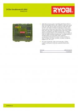 RYOBI RAKD141 141ks šroubovacích bitů 5132004667 A4 PDF