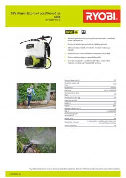 RYOBI RY18BPSA 18V Akumulátorový postřikovač na záda 5133004573 A4 PDF