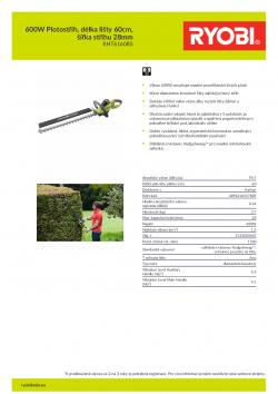 RYOBI RHT6160RS 600W Plotostřih, délka lišty 60cm, šířka střihu 28mm 5133003645 A4 PDF