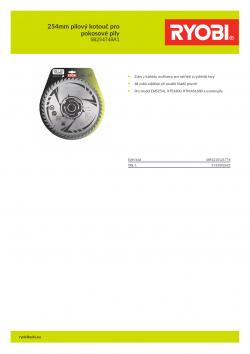 RYOBI SB254T48A1 254mm pilový kotouč pro pokosové pily 5132002622 A4 PDF